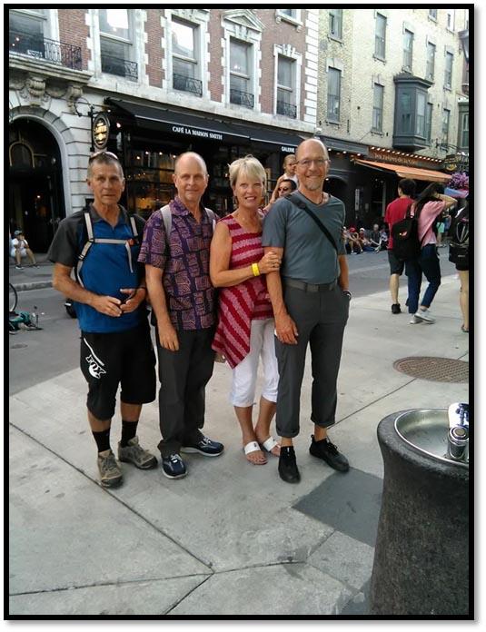 Quebec, Canada: Biennial Steen sibling reunion. (Tom, Robin, Laurie & Gary)