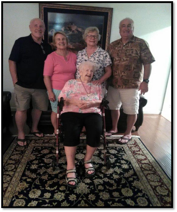Phoenix, Arizona: Killingsworth family reunion. (Tip, Jean, Carla, Jack & 92-year old mother, Helen)